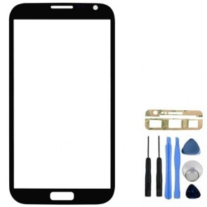 Black Front Glass Screen Lens Cover for Samsung Galaxy Note 2 N7100 + Tools