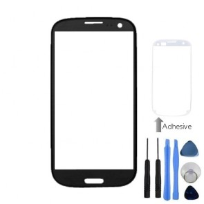 Black Front Outer Screen Glass Lens For Samsung Galaxy i9300 S3 + Tools Adhesive