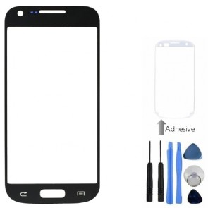 Black Front Outer Glass Lens Cover For Samsung Galaxy S4 Mini + Tools, Adhesive