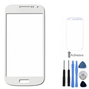 White Front Outer Glass Lens Cover For Samsung Galaxy S4 Mini + Tools, Adhesive
