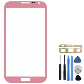 Pink Front Glass Screen Lens Cover for Samsung Galaxy Note 2 N7100 Tool Adhesive