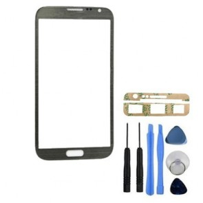 BisLinks® Grey Front Glass Screen Lens Cover for Samsung Galaxy Note 2 N7100 Tool Adhesive