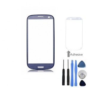 Blue Front Outer Screen Glass Lens For Samsung Galaxy i9300 S3 + Tools, Adhesive