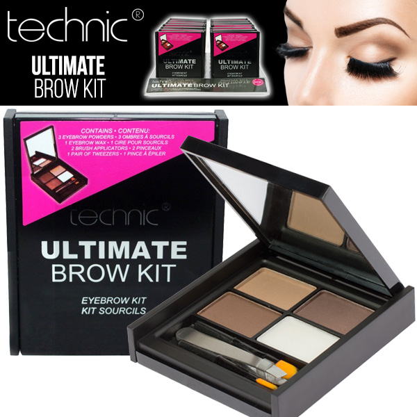 Technic Ultimate Brow Kit Set Eyebrow Makeup Powder Wax Brush